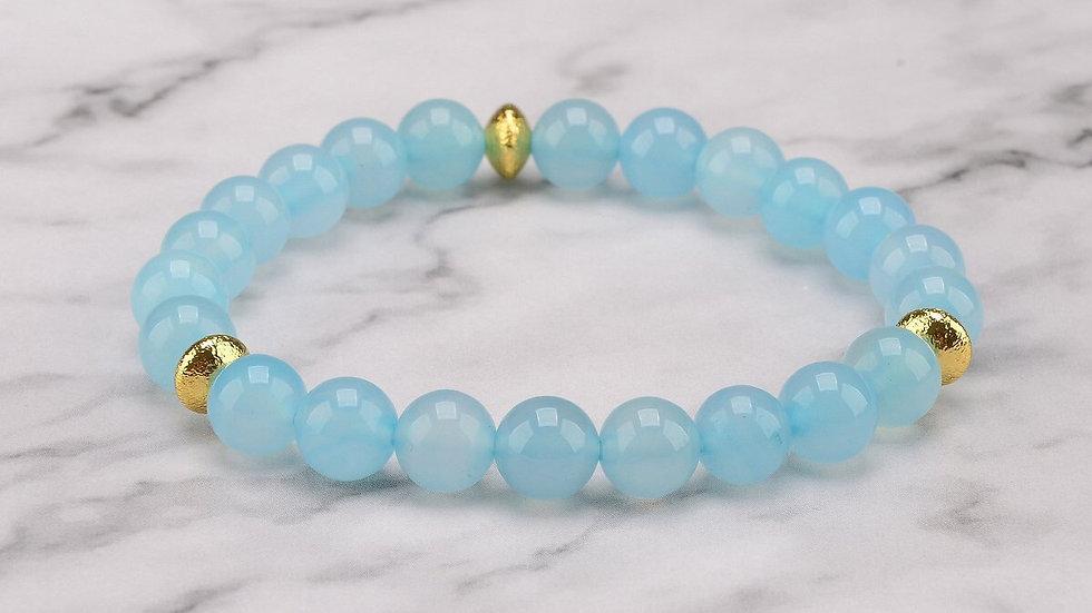 Tranquilizing Aquamarine Mala Bracelet