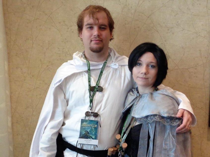 Ellie Raine and husband in costume