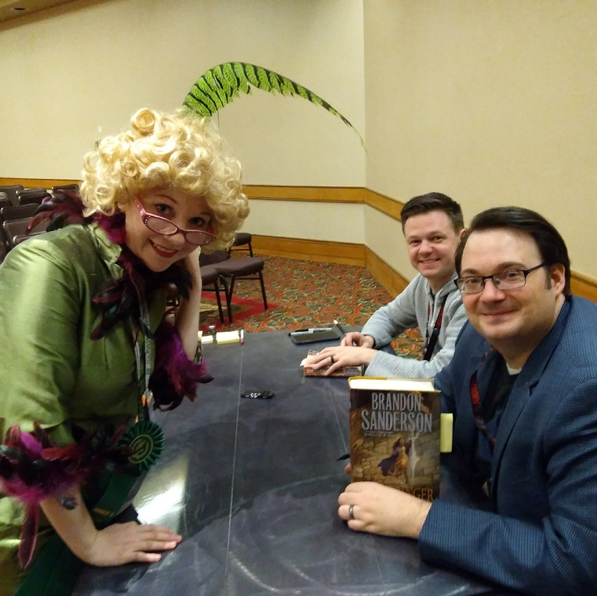 Sanderson signing Ellie's books!