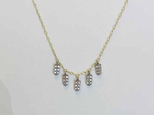 Rectangular Pavé Drops Necklace by Miera T