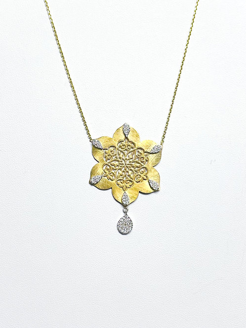 One of a Kind Diamond Flower Necklace by Sophia by Design