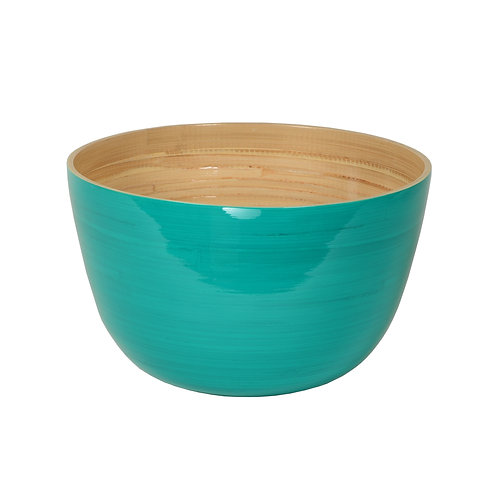 Large Tall Bamboo Bowl in Turquoise