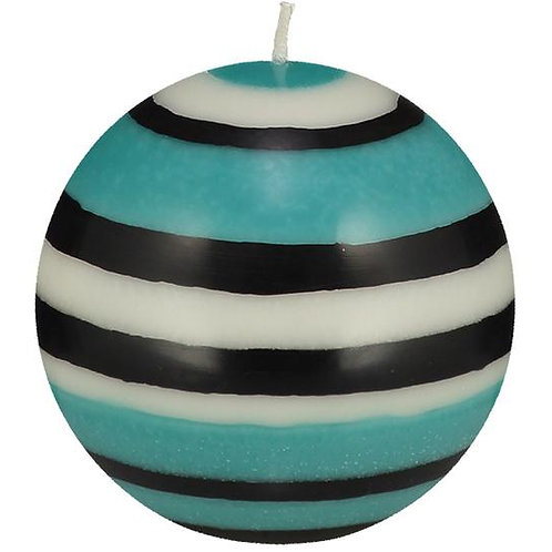 Large Striped Ball Candle in Black, White & Turquoise