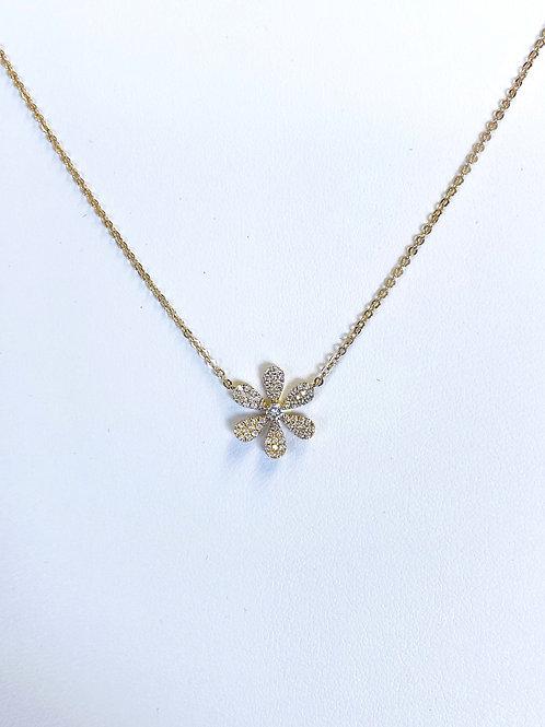 6 Petal Diamond Flower Necklace by Sophia by Design
