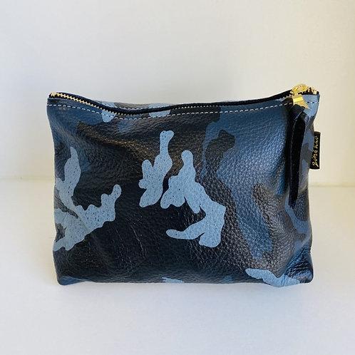 Blue Camo Leather Zip Pouch