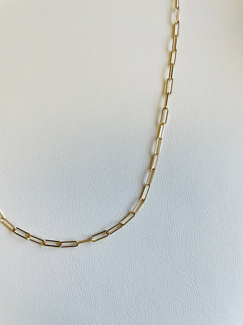 """18"""" 14KT Yellow Gold Paperclip Link Chain"""