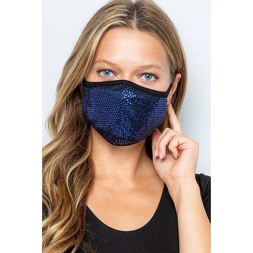 Blue Sequin Face Mask