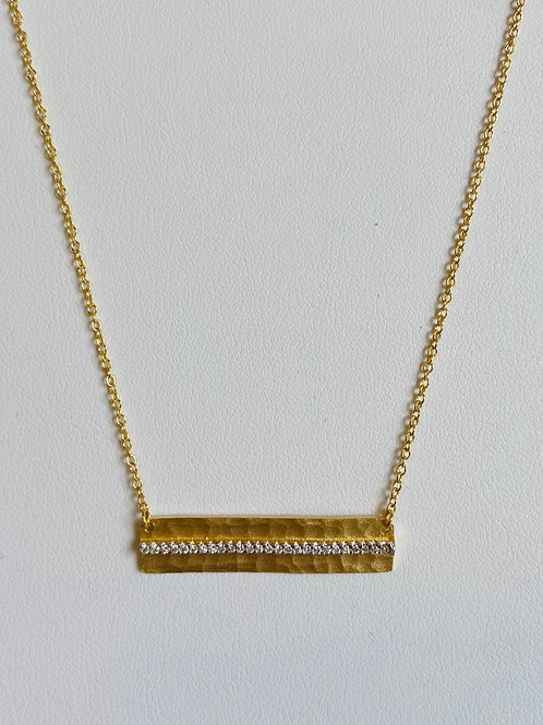 Hammered Rectangle Diamond Bar Pendant by I.REISS