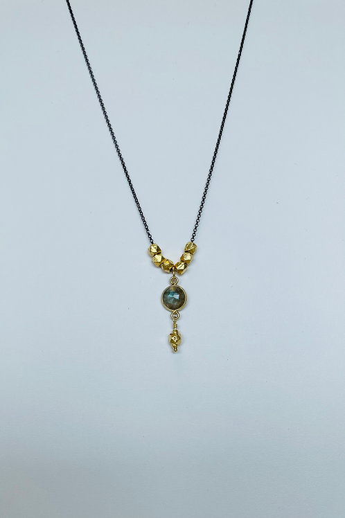 22k Gold Vermeil and Labradorite Necklace by Robindira Unsworth
