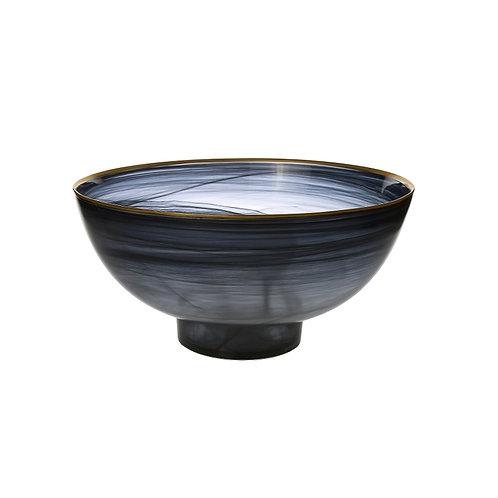 Black Alabaster Salad Bowl with Base