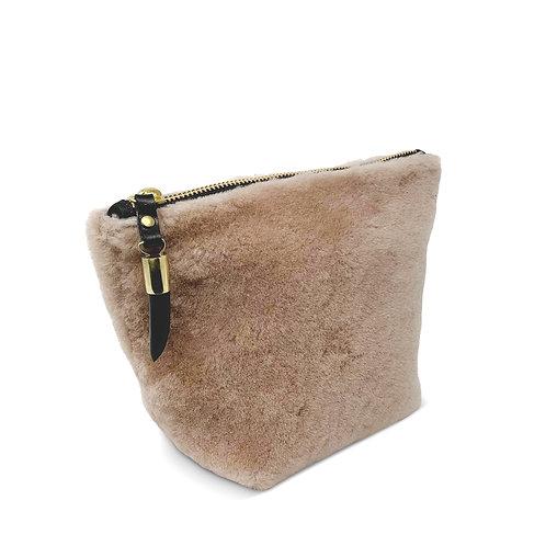 Blush Shearling Clutch/Make-Up Bag by Kempton