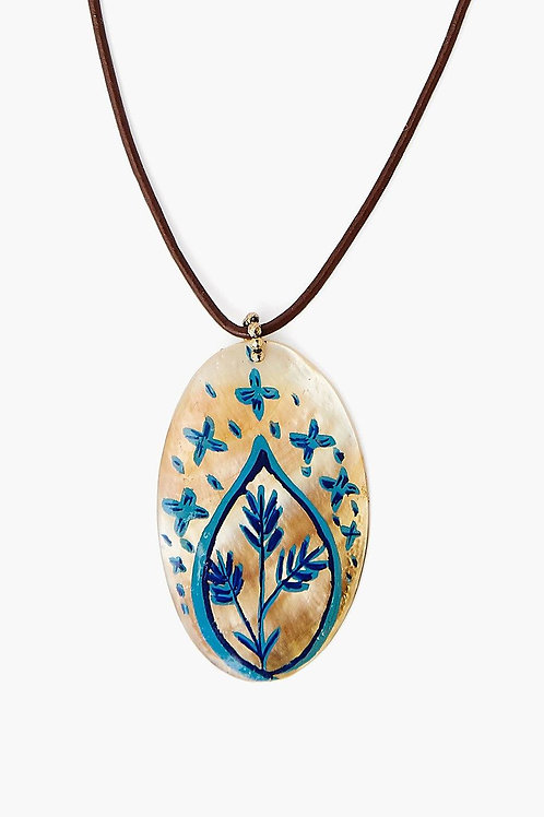 Blue Hand Painted Shell Necklace by Chan Luu