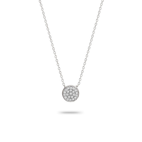 Solid Pave' Disc Pendant in Sterling Silver by Adina Reyter
