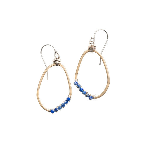 Freeform Gemstone Wrapped Earrings with Lapis by Original Hardware