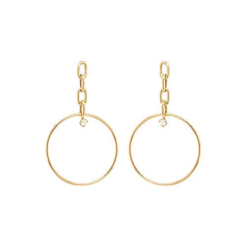 14k Prong Diamond Large Oval Chain Drop Hoop Earrings by Zoe Chicco