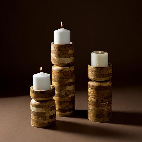 Set of Wood Candle Holder Vessels in Teak