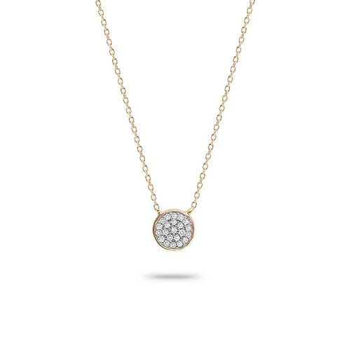 Solid Pave Disc Necklace in 14K Yellow Gold