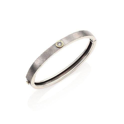 Single Diamond Bracelet with Gold Bezel by Rene Escobar