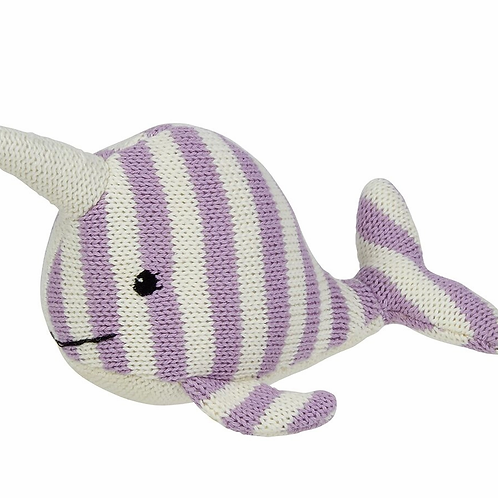 Nina the Narwhal Striped Knit Rattle