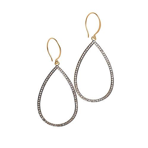 Grande Open Teardrop Pave Diamond Earrings by Original Hardware