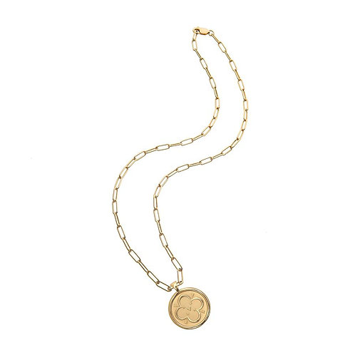 Small Love Pendant Coin Necklace by Jane Win