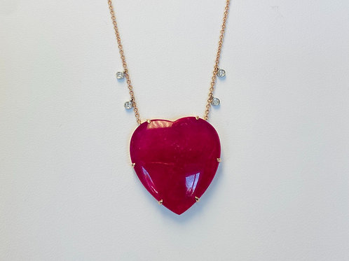 Rose Gold, Diamond and Pink Agate Heart Necklace by Miera T