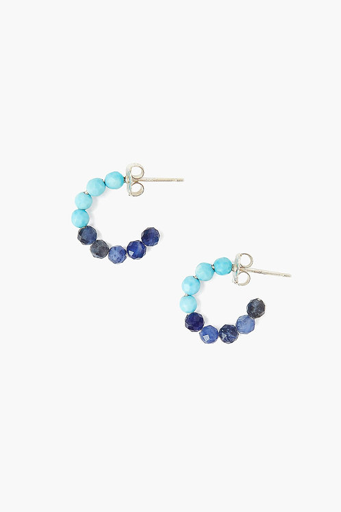 Turquoise and Sodalite Color Block Earrings by Chan Luu