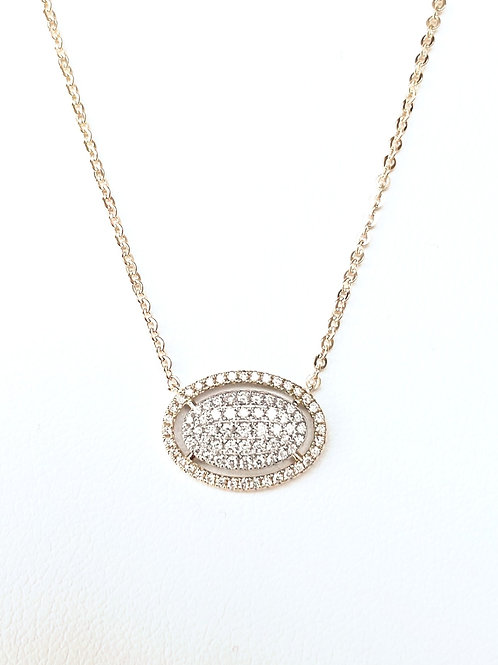14k Yellow Gold Oval Diamond Necklace by Sophia by Design