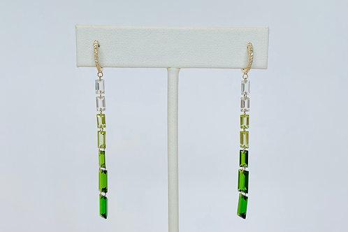 14k Yellow Gold Diamond, Topaz, Tourmaline Earrings by Sophia by Design