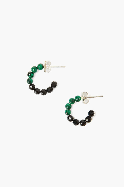 Malachite and Black Onyx Color Block Earrings by Chan Luu