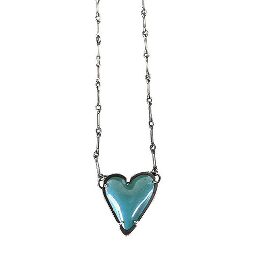 Turquoise Enamel New Heart Necklace by Lisa Crowder