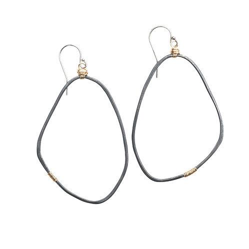 Large Freeform Earrings in Black Oxidized Silver Sterling by Original Hardware