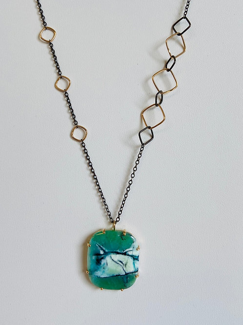 Blue Indonesian Fossilized Opalized Wood Pendant by Jamie Joseph