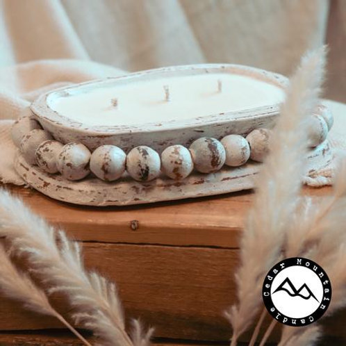 3 Wick, Beaded Clay Bowl Candle in Chamomile & Honey