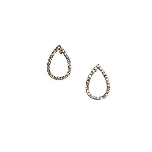 Open Teardrop Pave Diamond Stud Earrings by Original Hardware