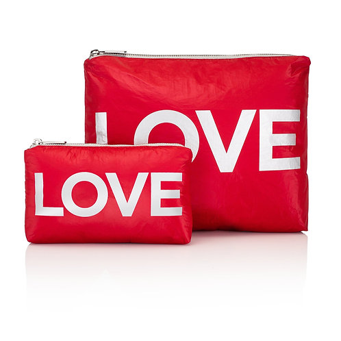 """Set of 2 Travel Packs in Red with """"LOVE"""""""