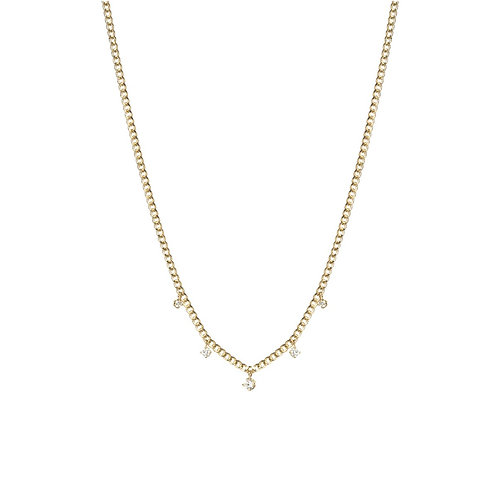 14k Gold Extra Small Curb Chain Necklace with 5 Prong Diamonds by Zoe Chicco