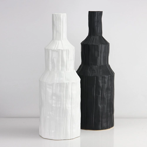 White Ceramic Bottle Vase