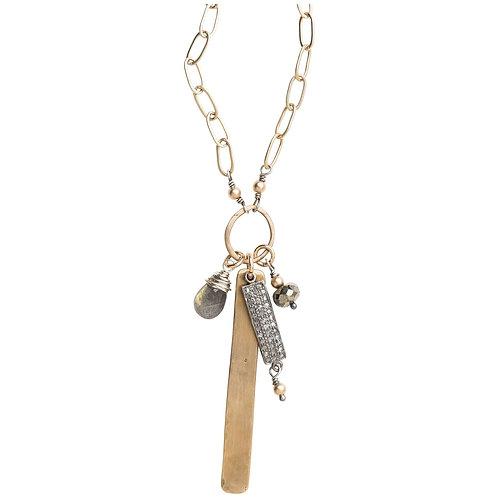 Pave Diamond & Gemstone Cluster Necklace by Original Hardware