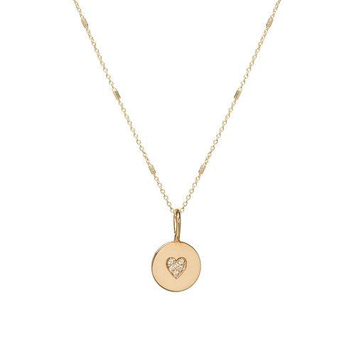 14k Pave Diamond Heart Disc Necklace by Zoe Chicco