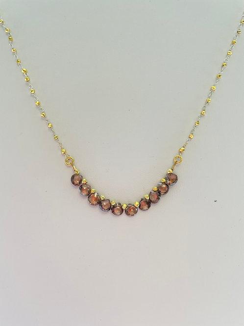 22k Gold Vermeil, Sterling Silver, Brown Zircon Necklace  by Robindira Unsworth
