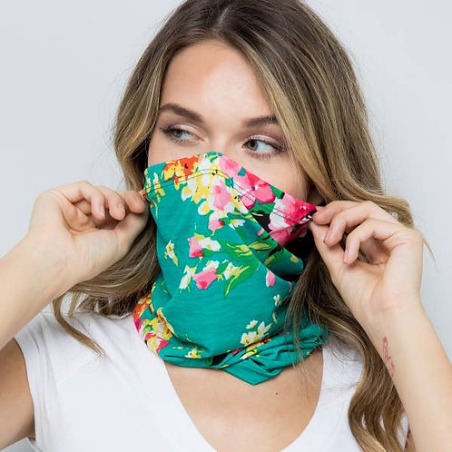 Green Floral Pull Up Face Mask