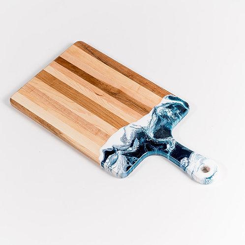 "10"" x 20"" Canadian Maple Resin Cheeseboard in Navy/White/Metallic"