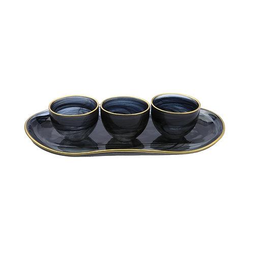 3 Alabaster Black Bowl Relish Dish