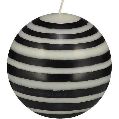 Large Striped Ball Candle in Jet Black & Pearl White