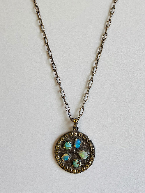Turquoise and Opal Medallion