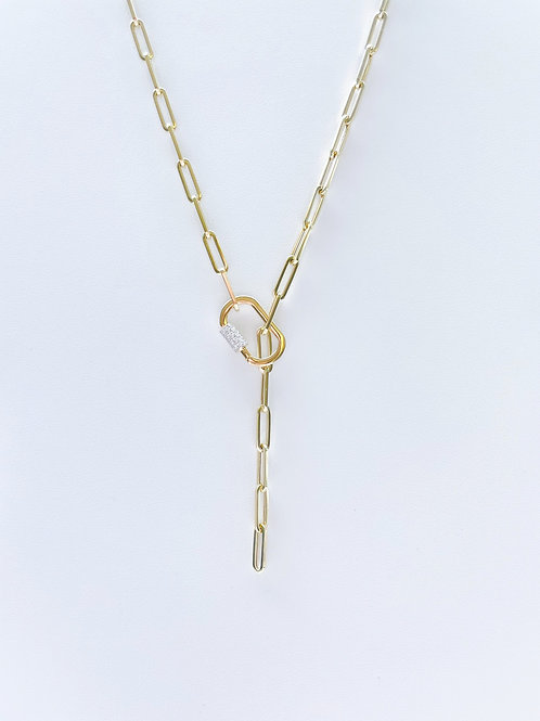 14k Yellow Gold Paper Clip Chain Necklace by Sophia by Design