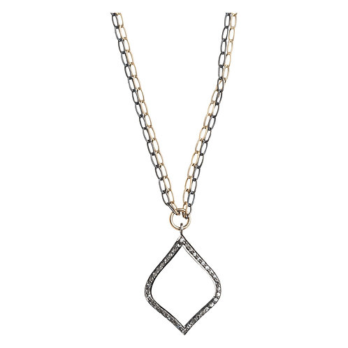 Arabesque Pave' Set Diamond Mixed Metal Pendant