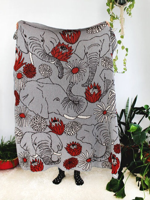 Elephants in Grey Knit Throw Blanket