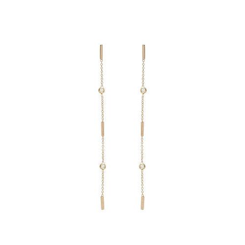 14k 3 Bar Earrings with Floating Diamonds by Zoe Chicco
